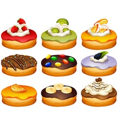 Donut in different flavors frosting vector image vector image
