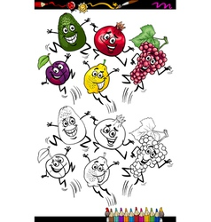 funny fruits cartoon coloring page vector image vector image