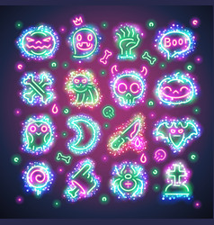 halloween icons with sparkles vector image vector image