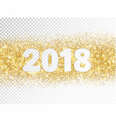 2018 glitter typography isolated on transparent vector image