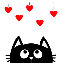 black cat looking up to hanging red hearts dash vector image vector image
