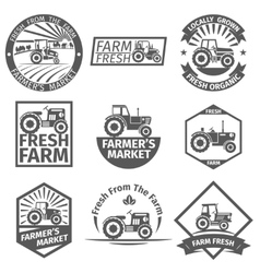 Farm labels with tractor vector