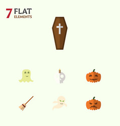 flat icon halloween set of broom gourd ghost and vector image