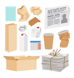 paper trash icons collection vector image