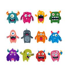 set of cartoon cute monsters flat vector image