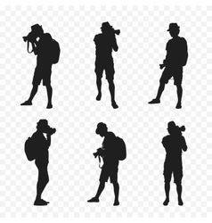 Silhouette of a tourist with camera vector image vector image