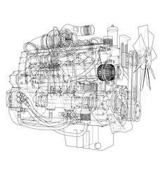 car engine rendering of 3d vector image vector image