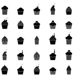 cupcake icon set vector image