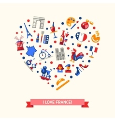France travel icons heart postcard with famous vector image