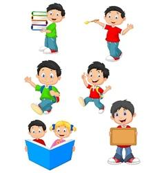 Happy school children cartoon collection set vector image