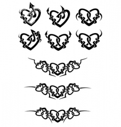heart tattoos vector image vector image