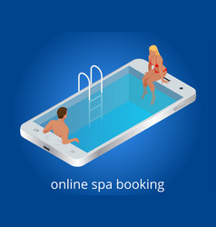 online spa booking concept guests can book online vector image
