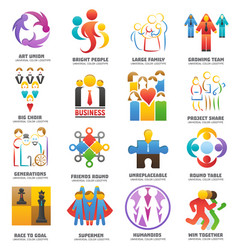 people team logo abstract group set vector image