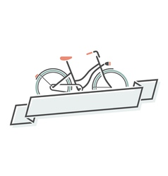 Retro bicycle and ribbon vector image