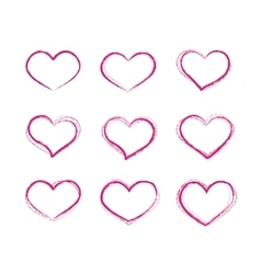 Retro scribble grunge heart symbols set vector image vector image