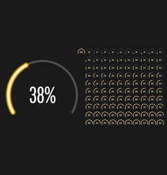 set of circular sector percentage diagrams from 0 vector image vector image