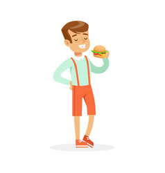 smiling boy eating hamburger colorful character vector image