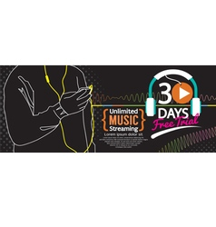 30 Days Free Trial Music Streaming 1500x600 Banner vector image vector image