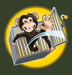 Baby chimpanzee breaking a cage vector