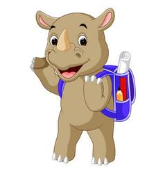 Funny rhino cartoon go to school vector
