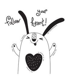 With joyful rabbit who says - follow vector
