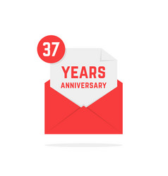 37 years anniversary icon in red open letter vector image