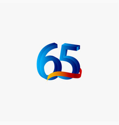 65 years anniversary celebration number blue vector