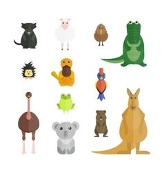 Australia wild animals cartoon collection vector image