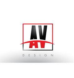 Av a v logo letters with red and black colors and vector