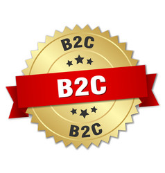 B2c round isolated gold badge vector