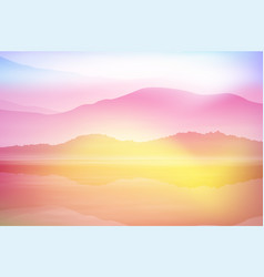 background with sea and mountain sunset time vector image