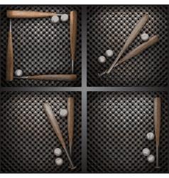 Baseball on metal wall vector