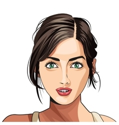 Beauty girl face lipstick hair tied vector