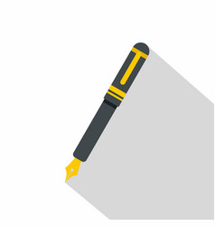 black fountain pen icon flat style vector image