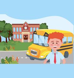 Boy kid and bus school design vector