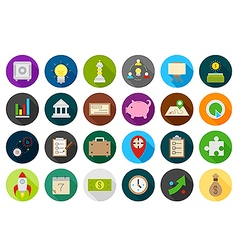 Business round strategy icons set vector image