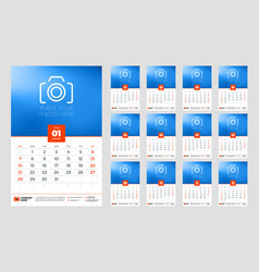 Calendar for 2018 year week starts on sunday vector