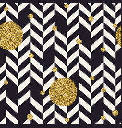 chevron black pattern and golden chaotic dots vector image vector image