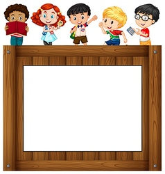 Children standing around the frame vector