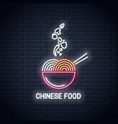 Chinese food neon logo noodles or pasta vector