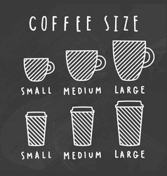 Choose coffee size chalkboard style vector