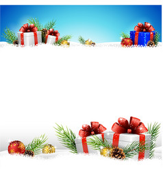 christmas background with gifts and snow vector image