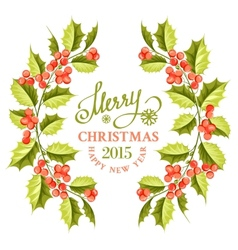 Christmas mistletoe branch frame vector