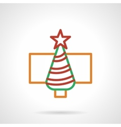 Color simple line New Year tree icon vector image