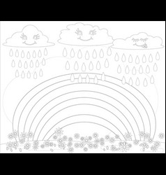 Coloring book for children rainbow vector
