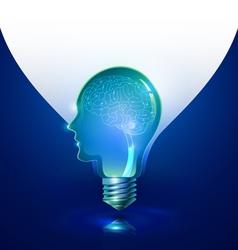 Creative Thinking Human Head Light Bulb vector