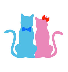 Cute couple pink cat with red batik and blue cat vector