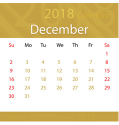 december 2018 calendar popular premium for vector image