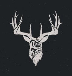 deer be wild and free invert vector image