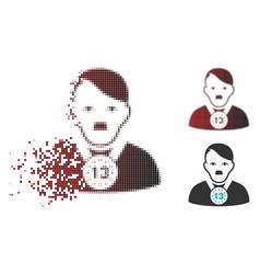 Dissolved pixel halftone hitler 13th prizer vector